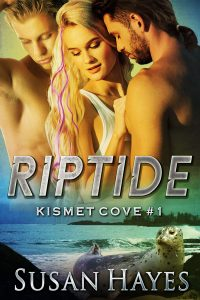 Cover of Riptide - Two men and a woman embracing with a coastal scene in the background