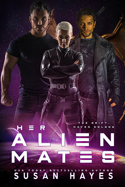 Cover of her Alien Mates. A woman stands between two men. One is tall and bearded, the other has gold skin and wings.